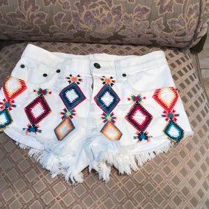 Carmar Embroidery Mid Rise Denim Shorts